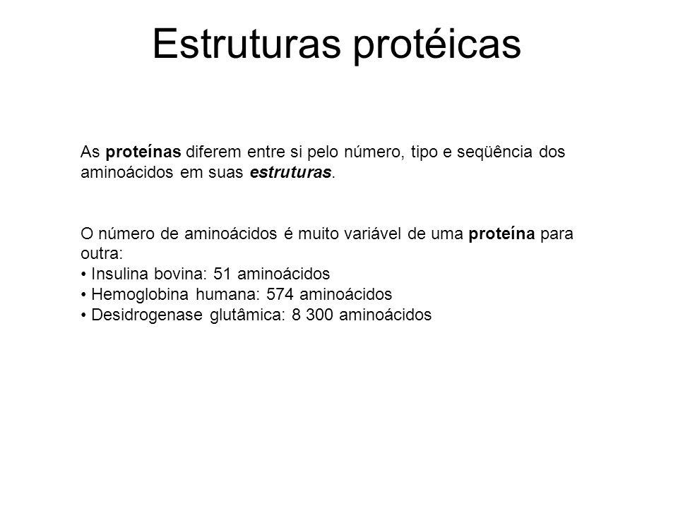 Estruturas protéicas As proteínas diferem entre si pelo número, tipo e seqüência dos aminoácidos em suas estruturas.