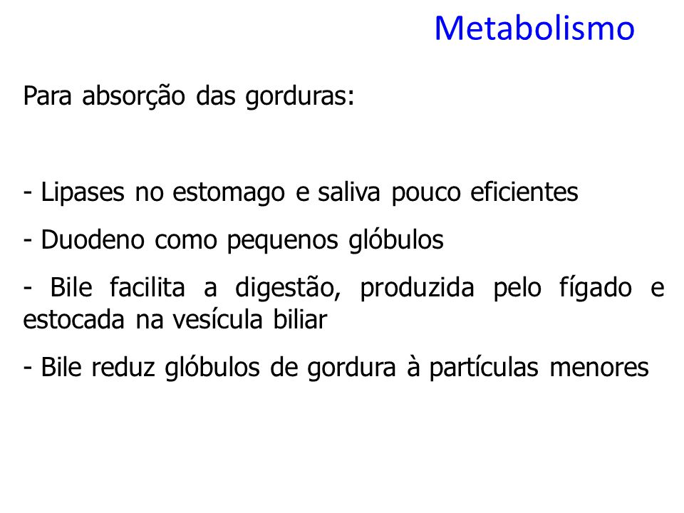 Metabolismo Para absorção das gorduras: