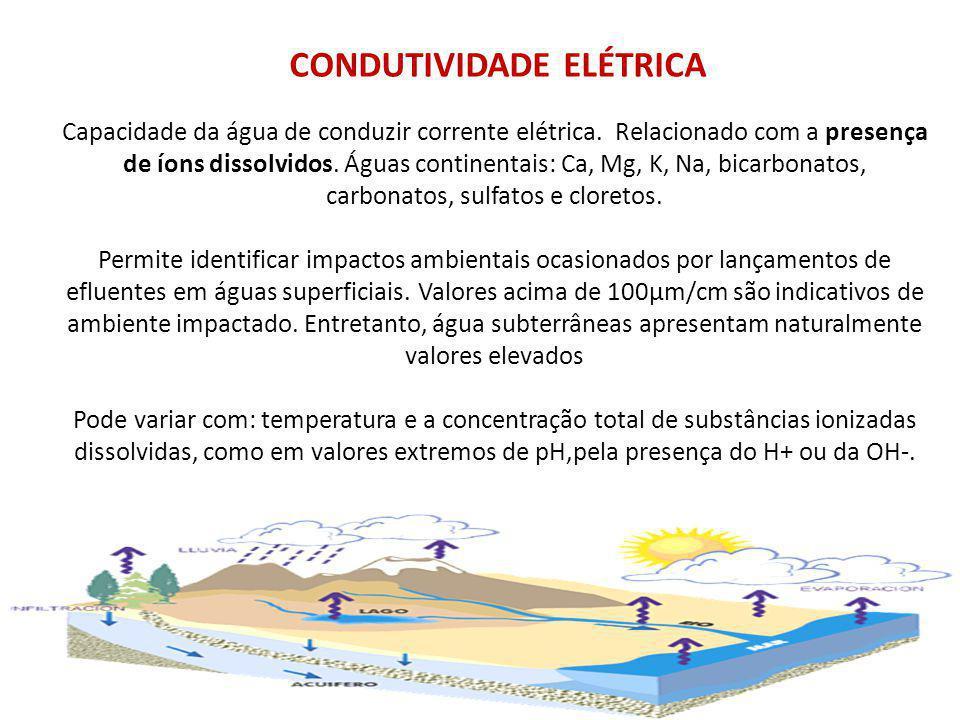 CONDUTIVIDADE ELÉTRICA Capacidade da água de conduzir corrente elétrica.