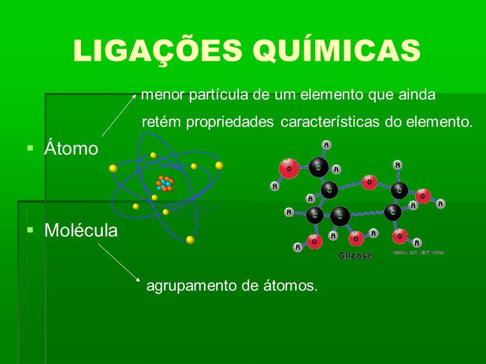 LIGAÇÕES QUÍMICAS menor partícula de um elemento que ainda Átomo