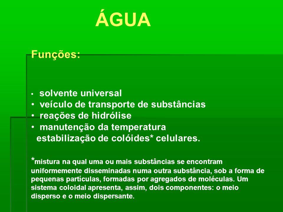 ÁGUA Funções: veículo de transporte de substâncias