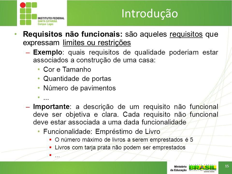 Introdução Requisitos não funcionais: são aqueles requisitos que expressam limites ou restrições.