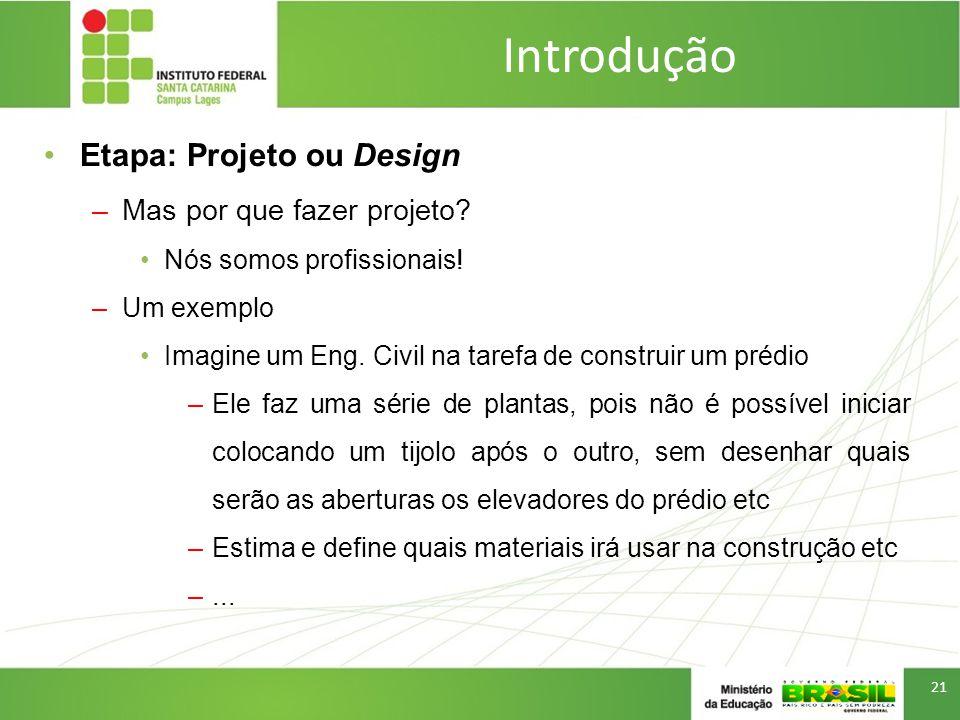 Introdução Etapa: Projeto ou Design Mas por que fazer projeto