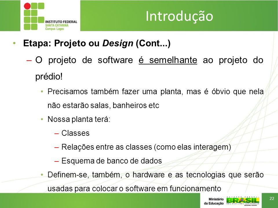 Introdução Etapa: Projeto ou Design (Cont...)