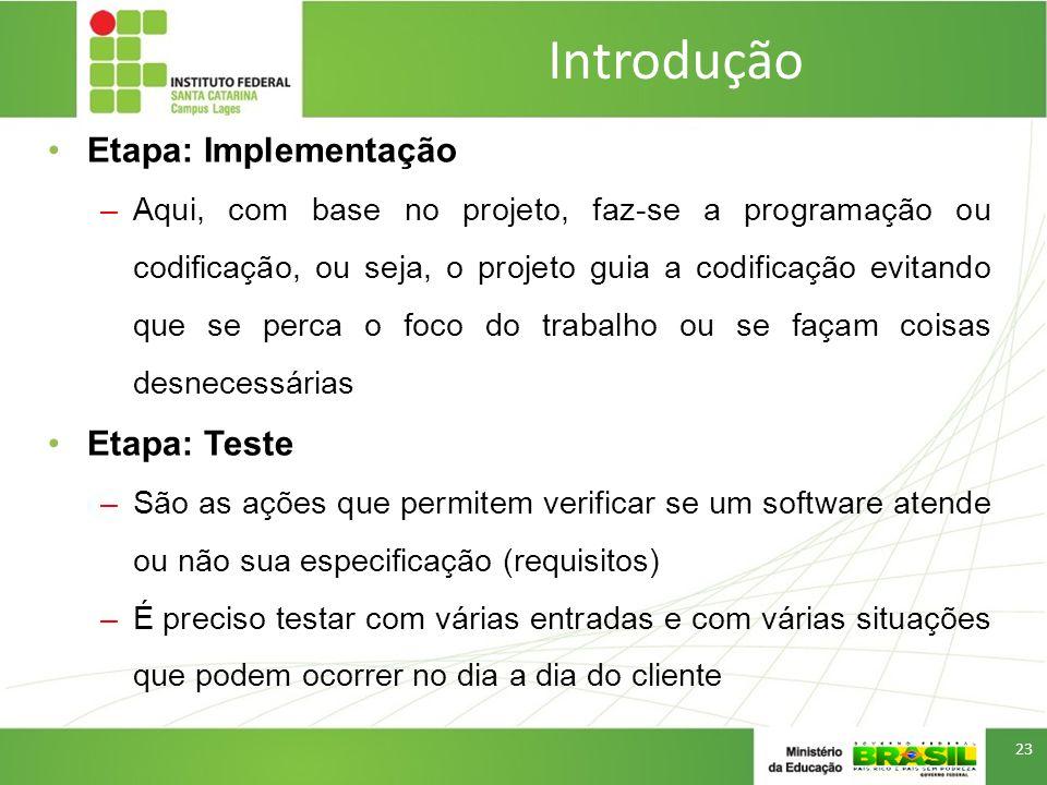Introdução Etapa: Implementação Etapa: Teste