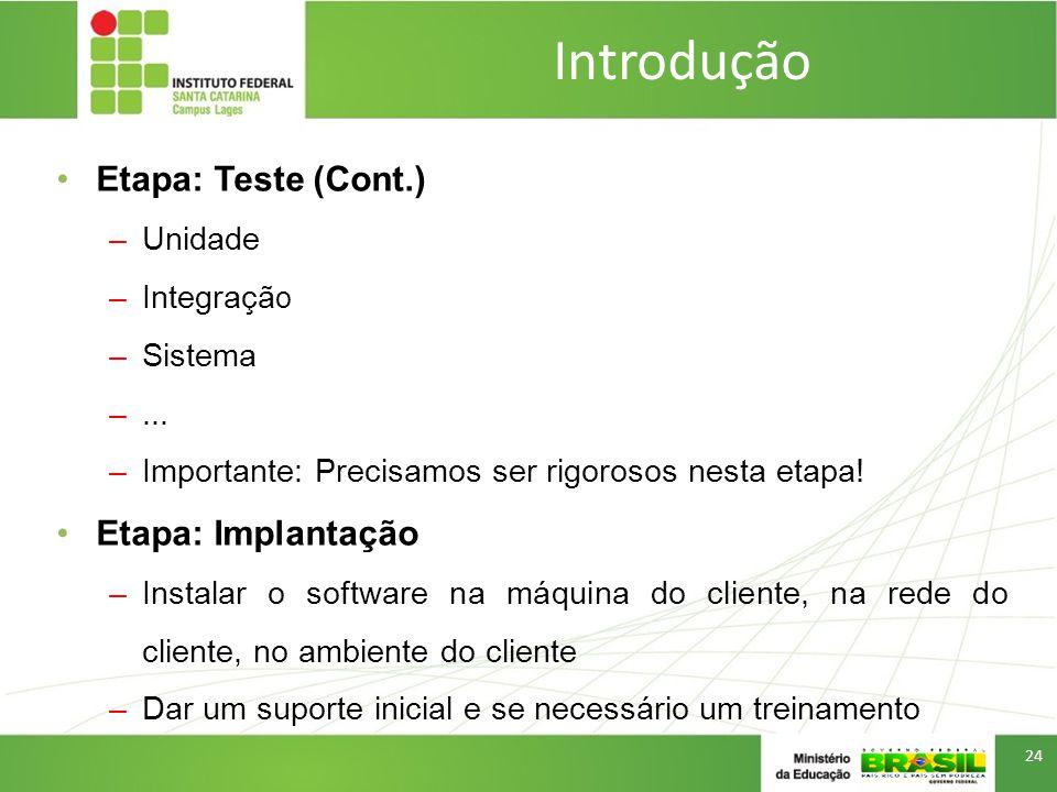 Introdução Etapa: Teste (Cont.) Etapa: Implantação Unidade Integração