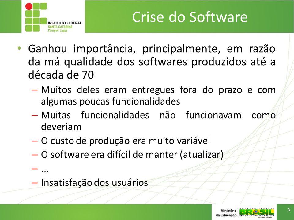 Crise do Software Ganhou importância, principalmente, em razão da má qualidade dos softwares produzidos até a década de 70.