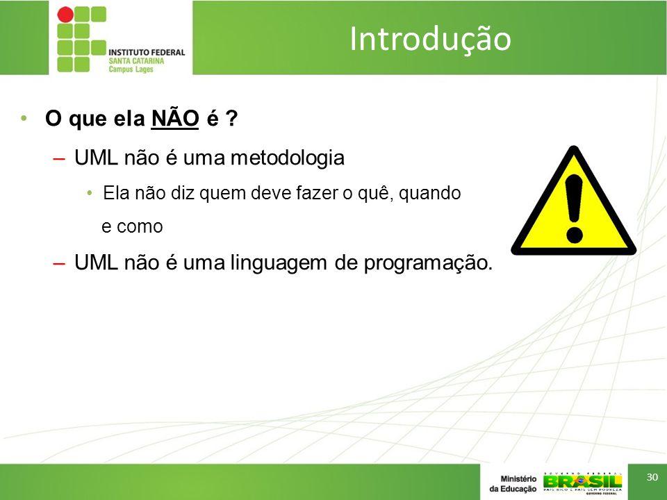 Introdução O que ela NÃO é UML não é uma metodologia