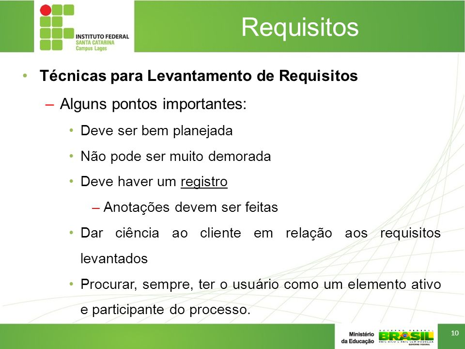 Requisitos Técnicas para Levantamento de Requisitos