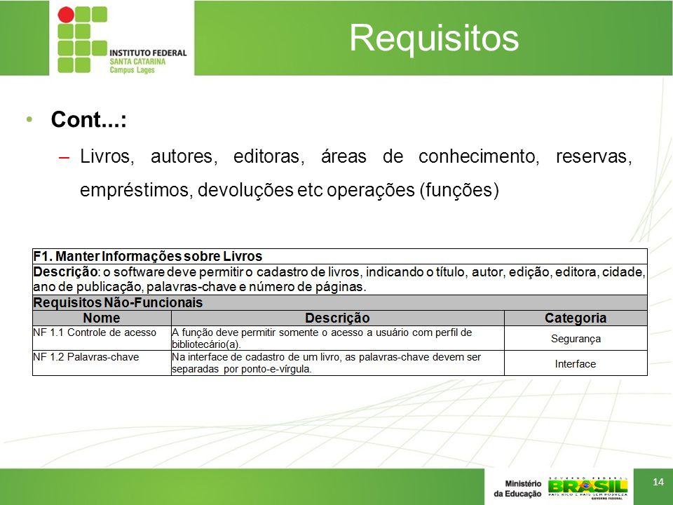 Requisitos Cont...: Livros, autores, editoras, áreas de conhecimento, reservas, empréstimos, devoluções etc operações (funções)
