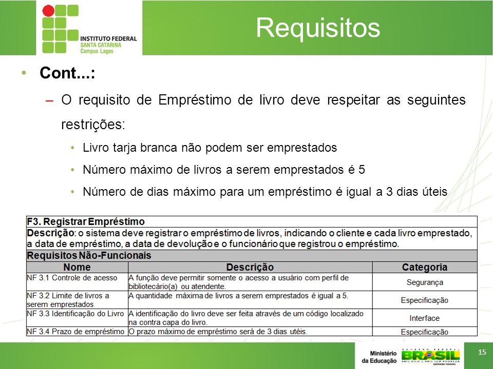 Requisitos Cont...: O requisito de Empréstimo de livro deve respeitar as seguintes restrições: Livro tarja branca não podem ser emprestados.