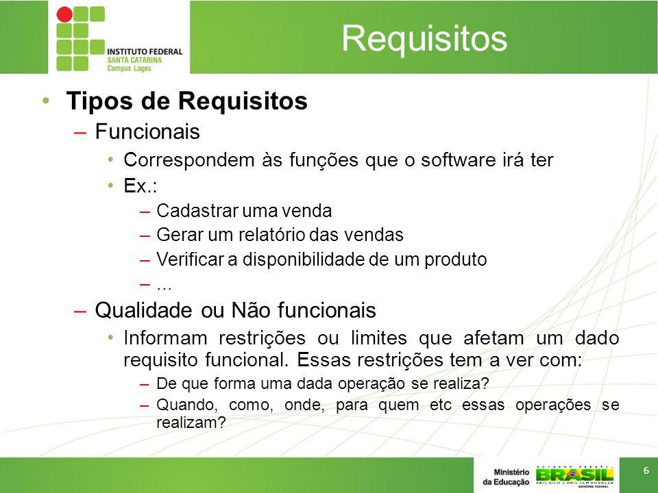 Requisitos Tipos de Requisitos Funcionais Qualidade ou Não funcionais