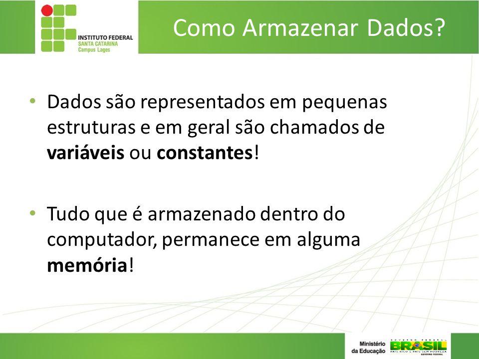 Como Armazenar Dados Dados são representados em pequenas estruturas e em geral são chamados de variáveis ou constantes!