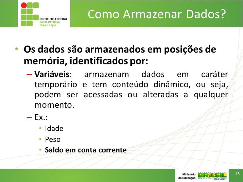 Como Armazenar Dados Os dados são armazenados em posições de memória, identificados por: