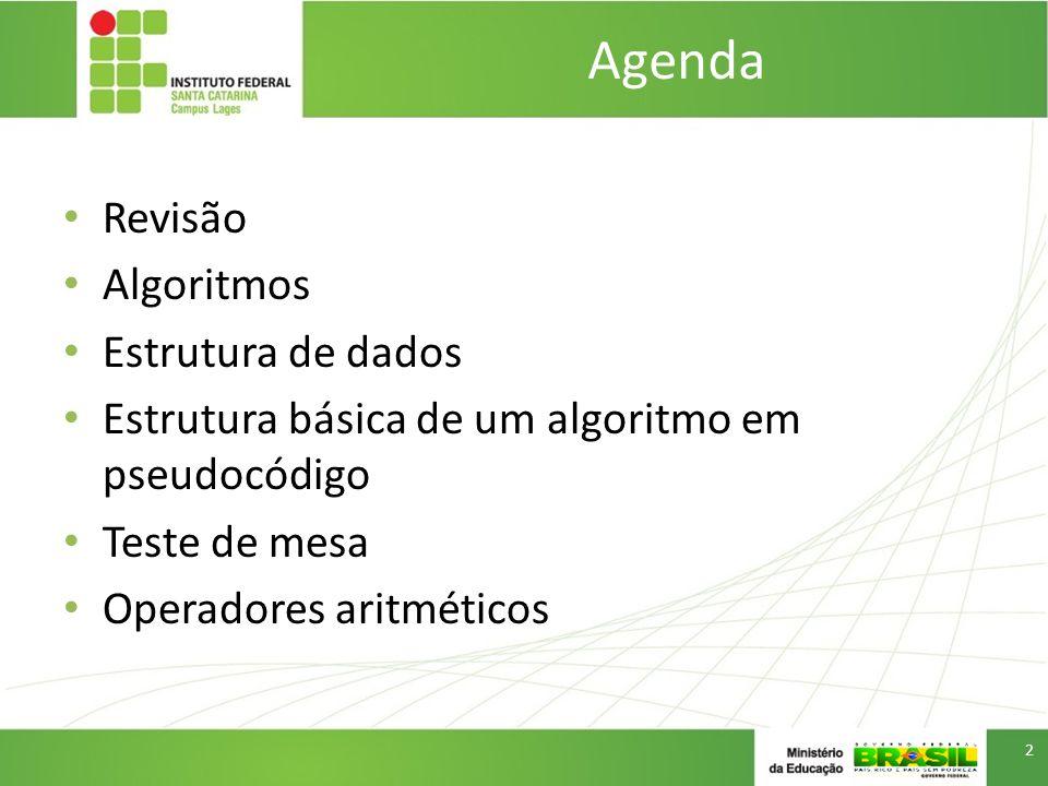 Agenda Revisão Algoritmos Estrutura de dados