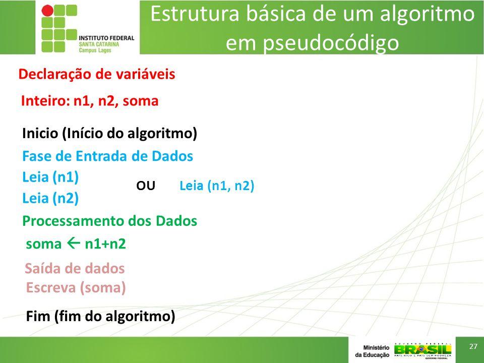 Estrutura básica de um algoritmo em pseudocódigo