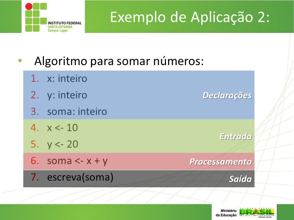 Exemplo de Aplicação 2: Algoritmo para somar números: x: inteiro
