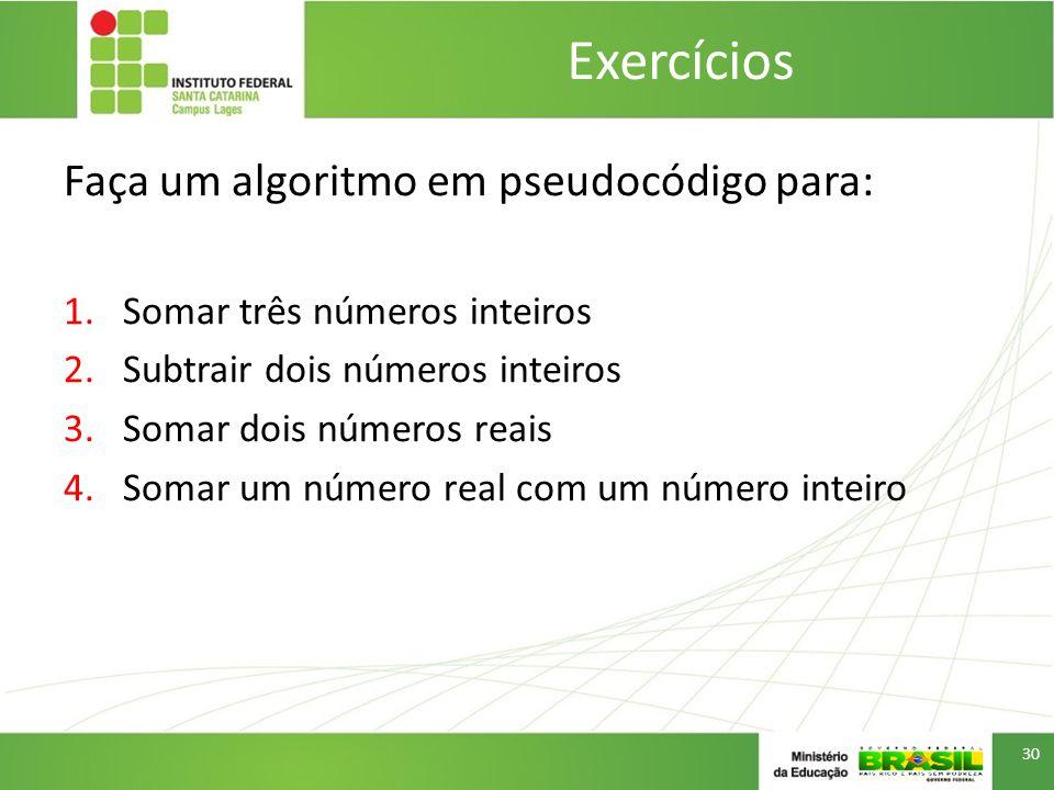 Exercícios Faça um algoritmo em pseudocódigo para: