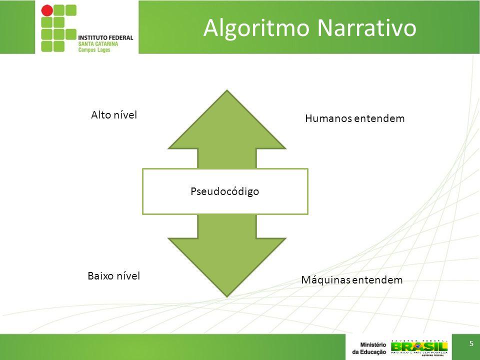 Algoritmo Narrativo Alto nível Humanos entendem Pseudocódigo
