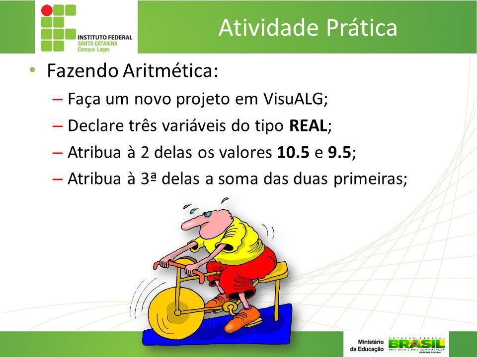 Atividade Prática Fazendo Aritmética: Faça um novo projeto em VisuALG;