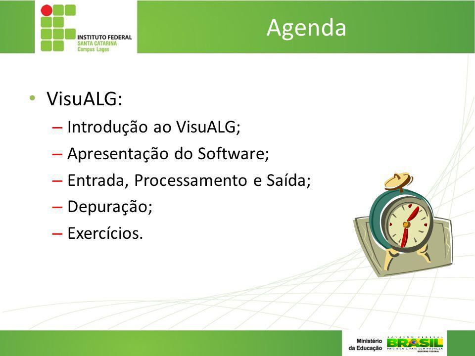 Agenda VisuALG: Introdução ao VisuALG; Apresentação do Software;