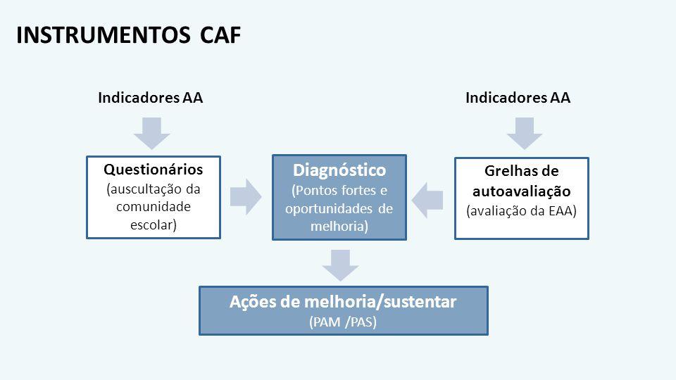 Grelhas de autoavaliação Ações de melhoria/sustentar