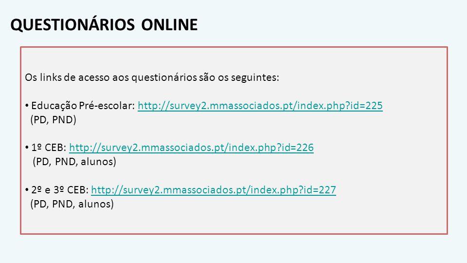 QUESTIONÁRIOS ONLINE Os links de acesso aos questionários são os seguintes: Educação Pré-escolar: http://survey2.mmassociados.pt/index.php id=225.