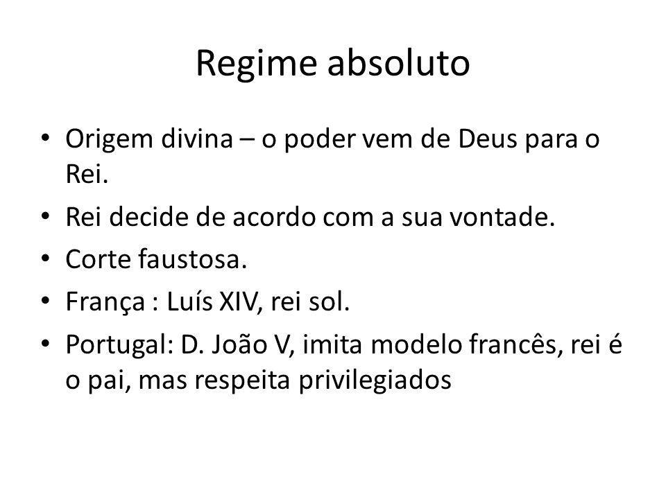 Regime absoluto Origem divina – o poder vem de Deus para o Rei.