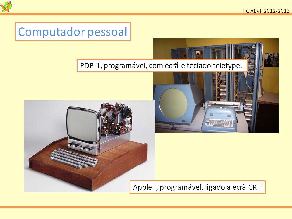 Computador pessoal PDP-1, programável, com ecrã e teclado teletype.