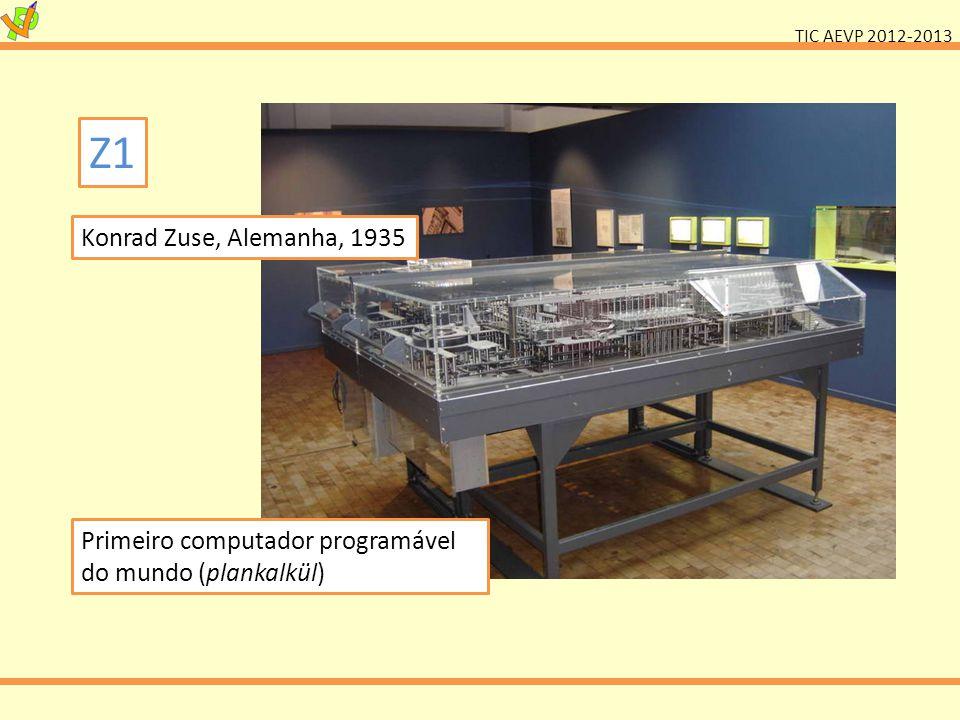 Z1 Konrad Zuse, Alemanha, 1935 Primeiro computador programável do mundo (plankalkül)