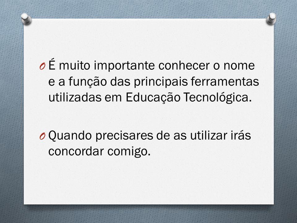 É muito importante conhecer o nome e a função das principais ferramentas utilizadas em Educação Tecnológica.