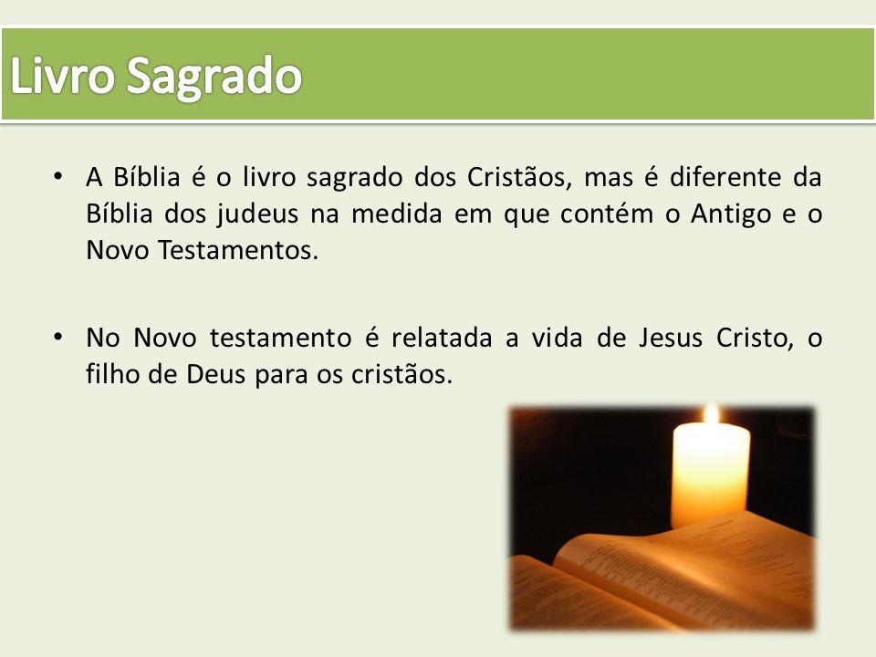 Livro Sagrado A Bíblia é o livro sagrado dos Cristãos, mas é diferente da Bíblia dos judeus na medida em que contém o Antigo e o Novo Testamentos.