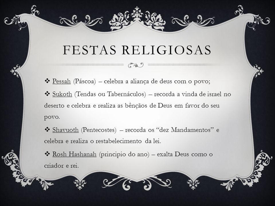 Festas religiosas Pessah (Páscoa) – celebra a aliança de deus com o povo;