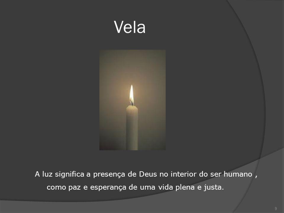 Vela A luz significa a presença de Deus no interior do ser humano , como paz e esperança de uma vida plena e justa.