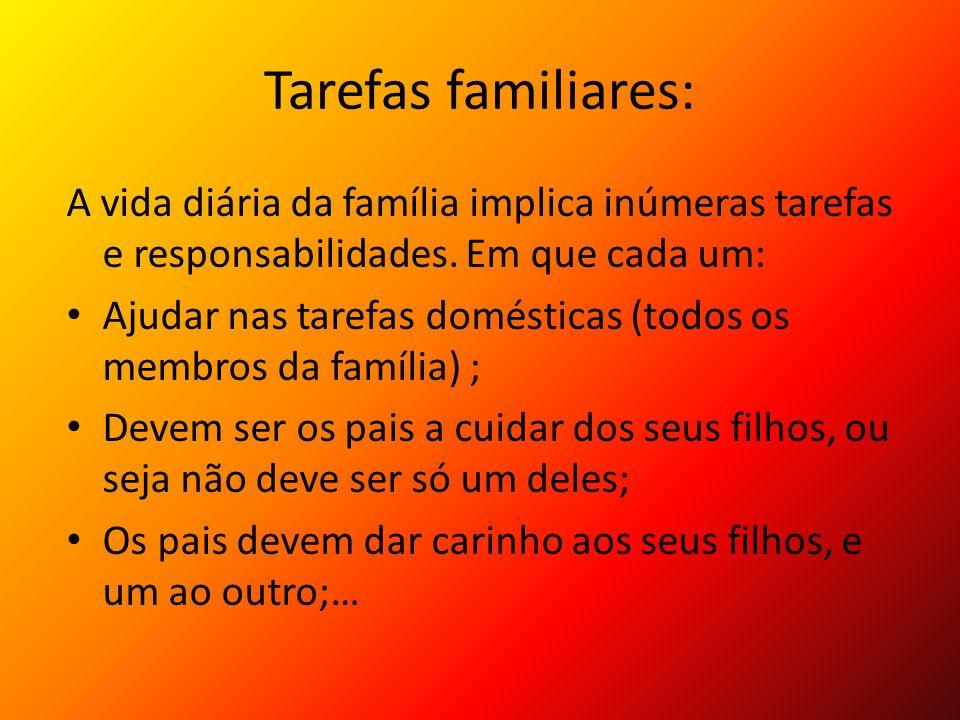 Tarefas familiares: A vida diária da família implica inúmeras tarefas e responsabilidades. Em que cada um: