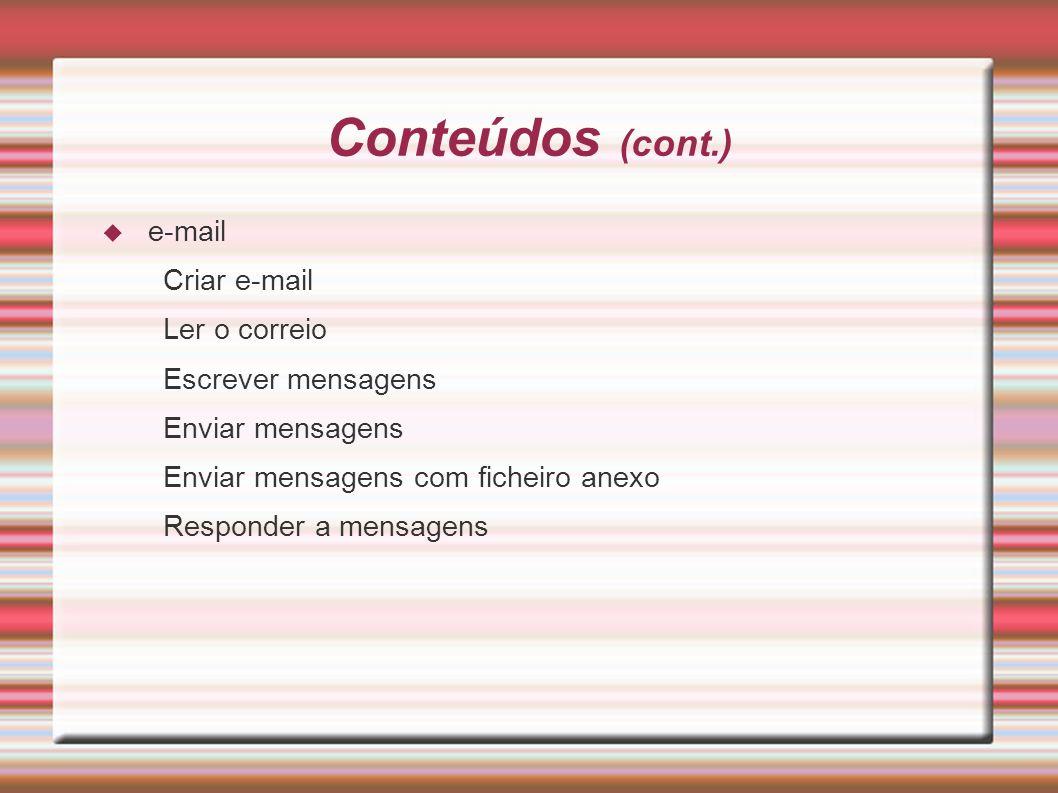 Conteúdos (cont.) e-mail Criar e-mail Ler o correio