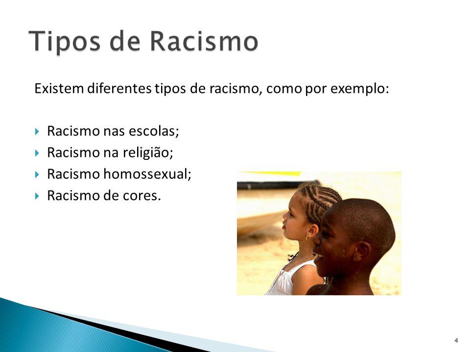 Tipos de Racismo Existem diferentes tipos de racismo, como por exemplo: Racismo nas escolas; Racismo na religião;