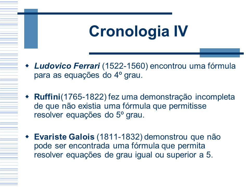 Cronologia IV Ludovico Ferrari (1522-1560) encontrou uma fórmula para as equações do 4º grau.