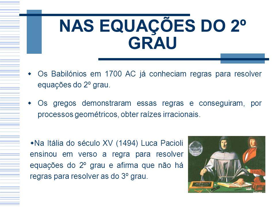 NAS EQUAÇÕES DO 2º GRAU Os Babilónios em 1700 AC já conheciam regras para resolver equações do 2º grau.