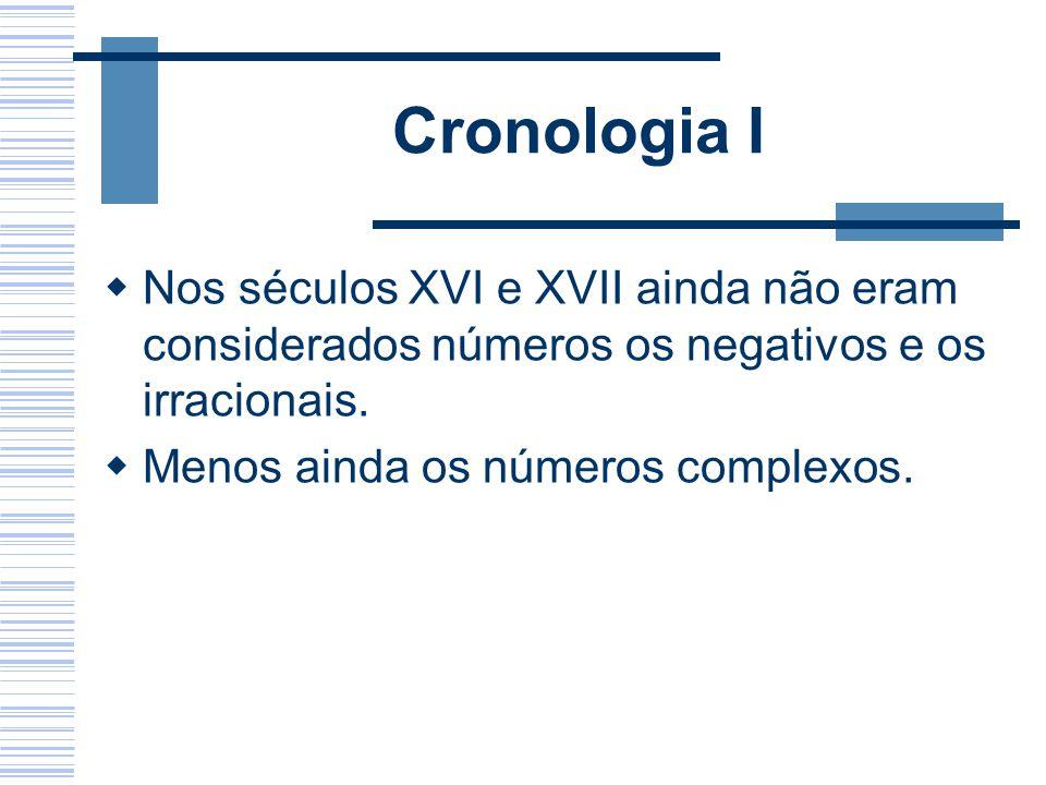 Cronologia I Nos séculos XVI e XVII ainda não eram considerados números os negativos e os irracionais.