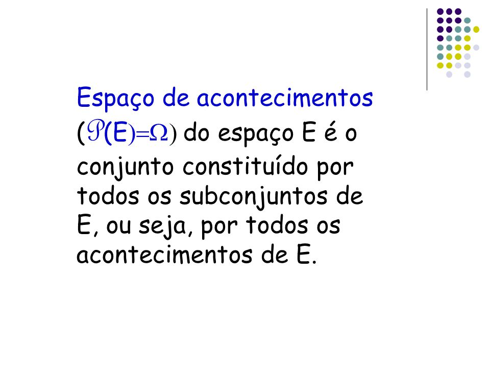 Espaço de acontecimentos (P(E)=W) do espaço E é o conjunto constituído por todos os subconjuntos de E, ou seja, por todos os acontecimentos de E.