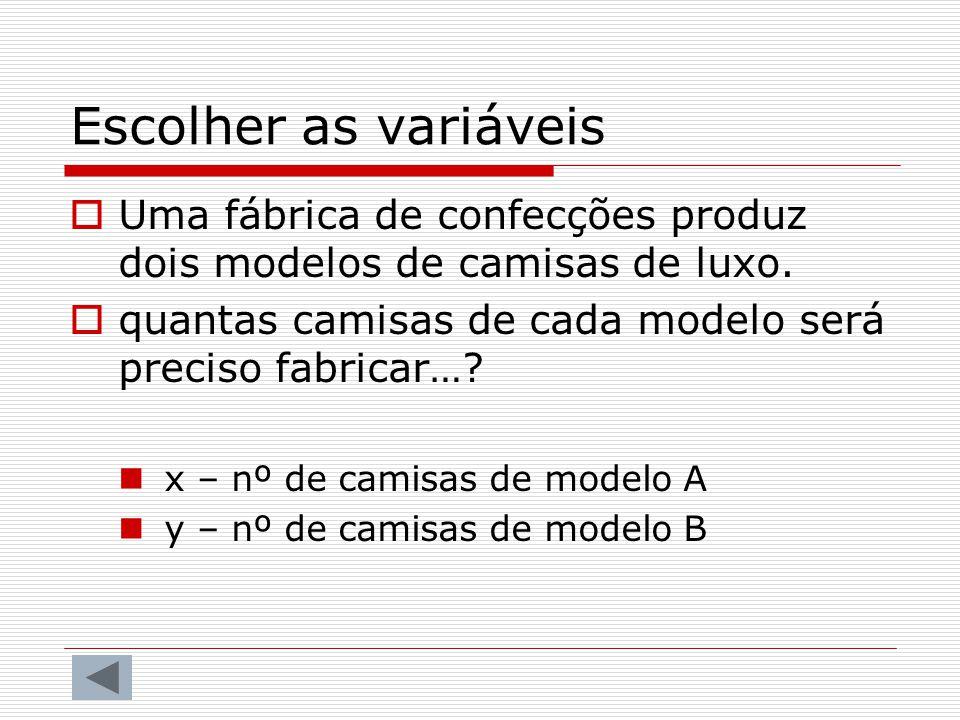 Escolher as variáveis Uma fábrica de confecções produz dois modelos de camisas de luxo. quantas camisas de cada modelo será preciso fabricar…
