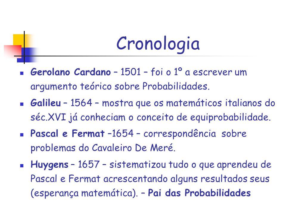 Cronologia Gerolano Cardano – 1501 – foi o 1º a escrever um argumento teórico sobre Probabilidades.