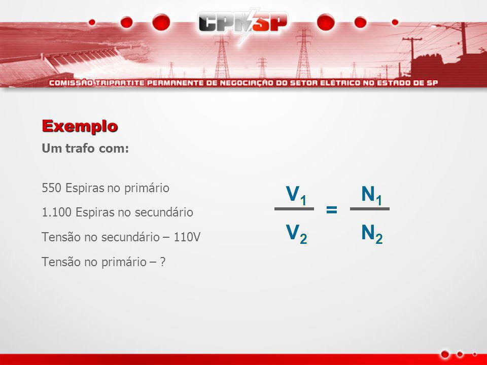 V1 V2 = N1 N2 Exemplo Um trafo com: 550 Espiras no primário