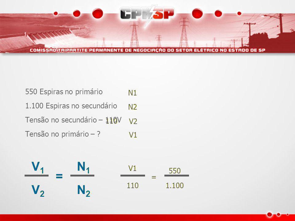 V1 V2 = N1 N2 550 Espiras no primário 1.100 Espiras no secundário