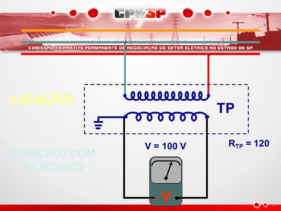 LIGAÇÃO TP RTP = 120 V = 100 V PARALELO COM O CIRCUITO v