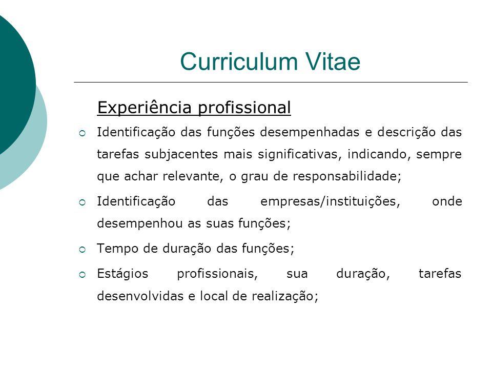 Curriculum Vitae Experiência profissional