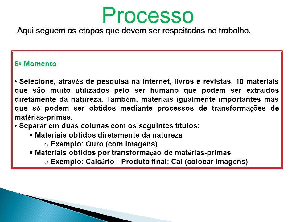 Processo Aqui seguem as etapas que devem ser respeitadas no trabalho.