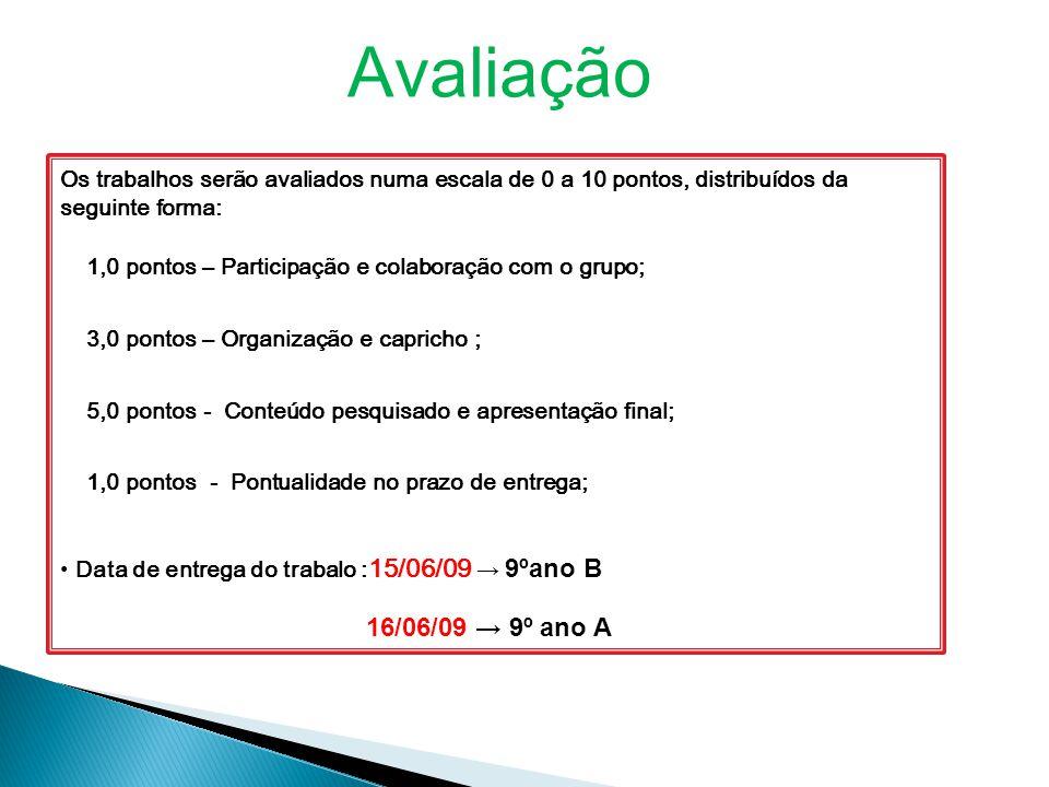 Avaliação Os trabalhos serão avaliados numa escala de 0 a 10 pontos, distribuídos da seguinte forma: