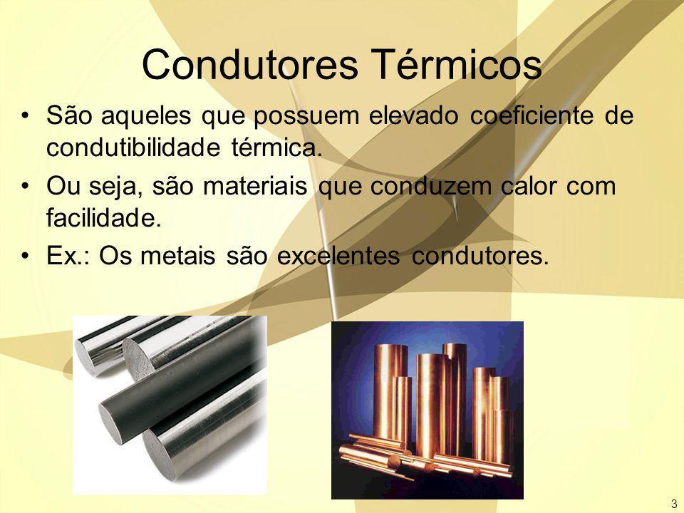 Condutores Térmicos São aqueles que possuem elevado coeficiente de condutibilidade térmica.